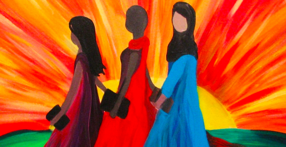 Three hand drawn women holding hands