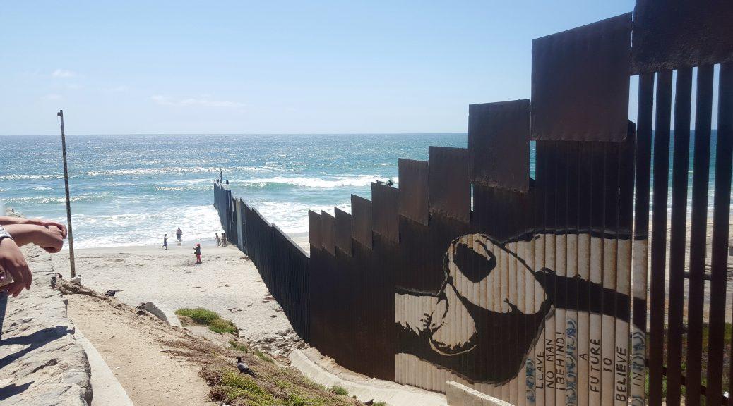 U.S and Mexico border extending into the ocean