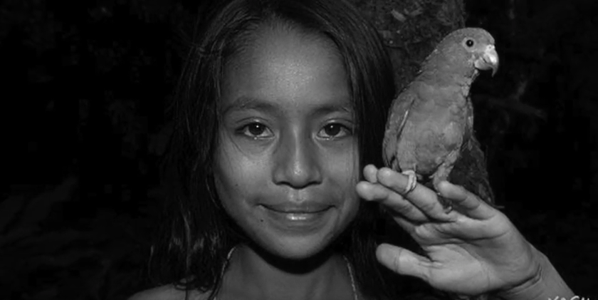 A child from Yasuni smiling with a bird resting on their hand