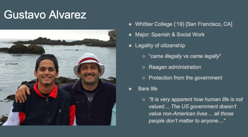 Screen shot from powerpoint, interviewee Gustavo Alvarez smiling with friend in front of the water