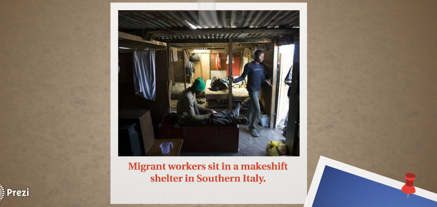 Picture of migrant migrants in a makeshift shelter